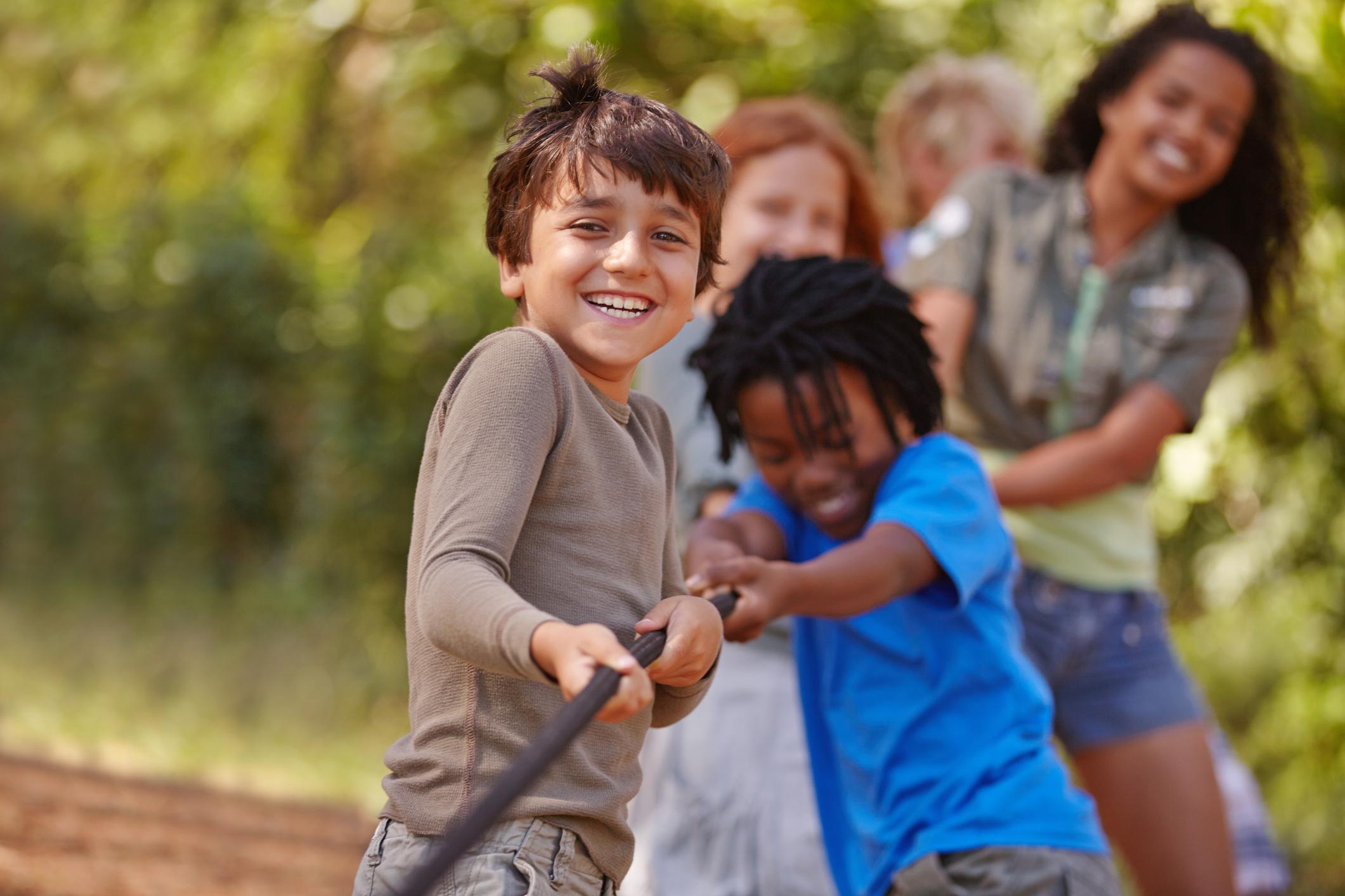 Children playing tug-a-war